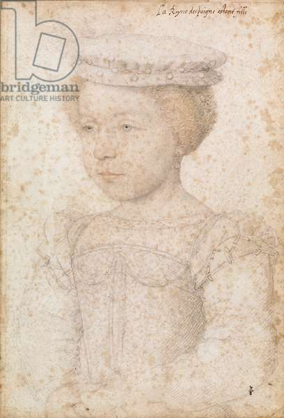 Elisabeth of France (1545-68) as a child (pencil on paper)