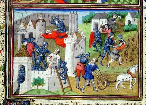 Ms 860/401 f.1 Murders of the villagers and peasants, from the prologue to 'Cas des Nobles Hommes et Femmes' by Giovanni Boccaccio, translated by Laurent de Premierfait, 1465 (vellum) (see also 175018)