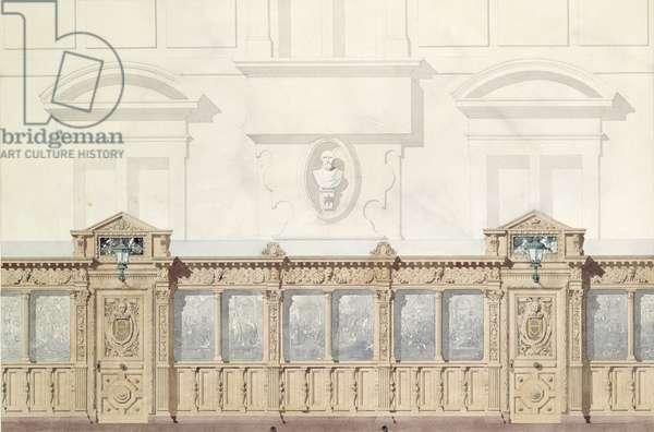 Design for the Galerie de Bois, Chateau de Chantilly (w/c on paper)