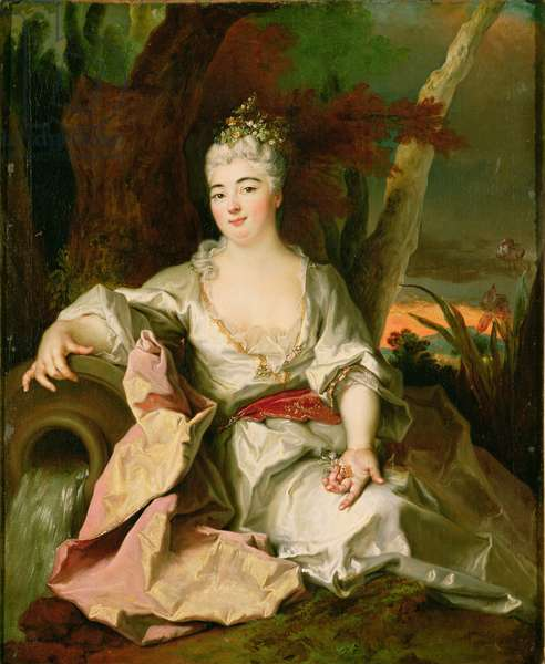 Portrait of Elizabeth Charlotte of Bavaria (1652-1722) Duchess of Orleans, as the Source of a River (oil on canvas)