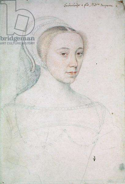 Jeanne de Vivonne (1516-83) c.1535 (pencil on paper)
