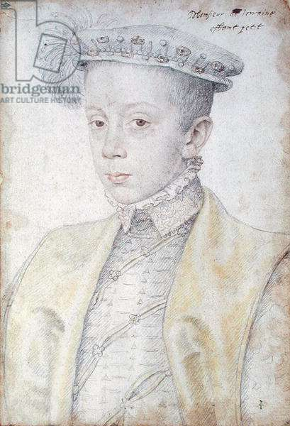 Portrait of Charles II (or III) the Great (1543-1608) Duke of Lorraine and Bar, c.1555 (wash, watercolour, pencil & red chalk)