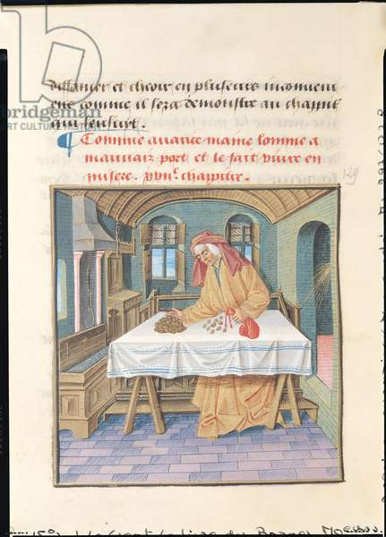 Ms 297/1338 fol.53v Avarice, from the Book of Good Morals, by Jacques le Grant (1360-1415) (vellum)