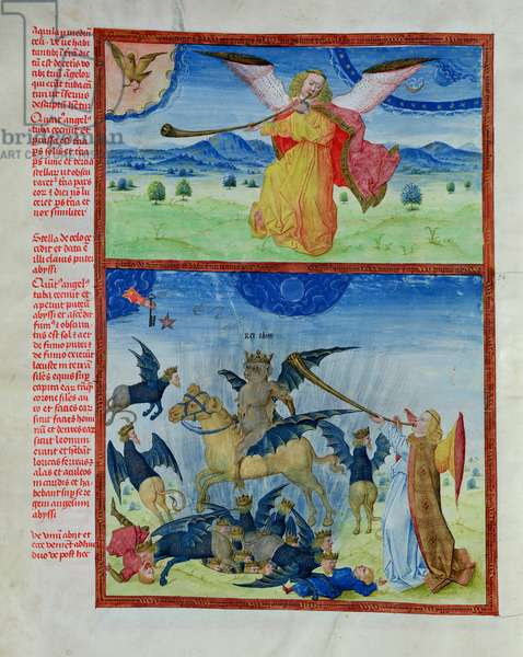 Ms 724/1596 f.12v The Fifth Trumpet: The Fall of the Star of Satan and the Key to the Bottomless Pit, from 'Liber Floridus' by Lambert de Saint-Omer, c.1448 (vellum)