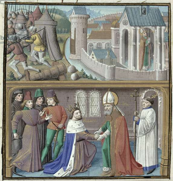Ms 722/1196 fol.46v Scenes from the Life of St. Lupus of Sens (d.c.573) and his Reconciliation with King Clothar II (584-629) from Le Miroir Historial, by Vincent de Beauvais (vellum)