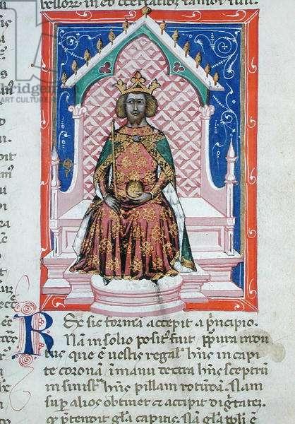 Ms 286/1075 fol.3v The King, from the Latin edition of 'Libellus de Moribus' written by Jacques de Cessoles (vellum)