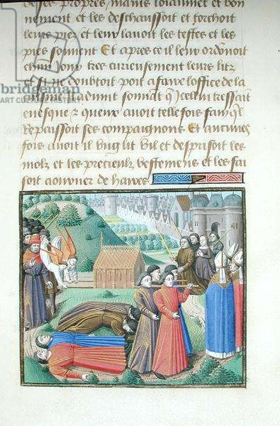 Ms 722/1196 fol.69r Moving the Body of a Saint, from Le Miroir Historial, by Vincent de Beauvais (vellum)