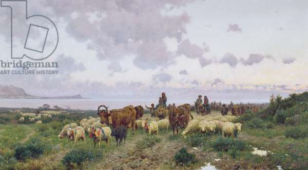 Blessing of the Herds of Mondello (oil on canvas)