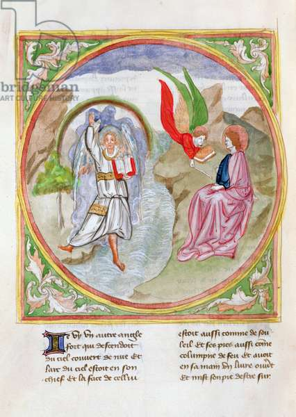 Ms. 28/1378 fol.63v The Angel Presents John with the Open Book, from 'Histoire Extraite de la Bible et Apocalypse' (vellum)