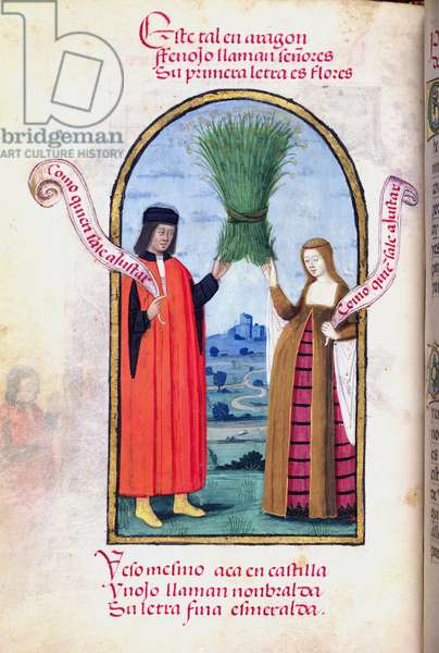 Ms 604/1339 f.36v King Ferdinand II of Aragon and Isabella of Castile presenting fennel flowers, from the 'Devotionary of Queen Juana the Mad', c.1482 (vellum)