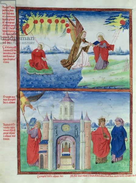 Ms 724/1596 Fol.13v The Return of the Book and the Golden Reed to St. John in order to Measure the Temple, from 'Liber Floridus' by Lambert de Saint-Omer, c.1448 (vellum)