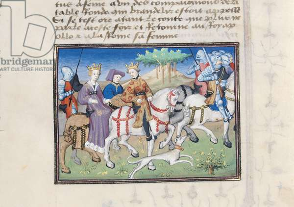 Ms 648/404 f.22r Royal cavalcade, from Roman des Chevaliers Galaad, Tristan et Lancelot (vellum)