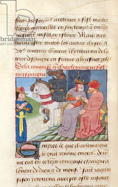 Ms 869/522 f.188v Charlemagne (742-814) and the Conquest of Spain, 778 AD, 1217-37 (vellum)