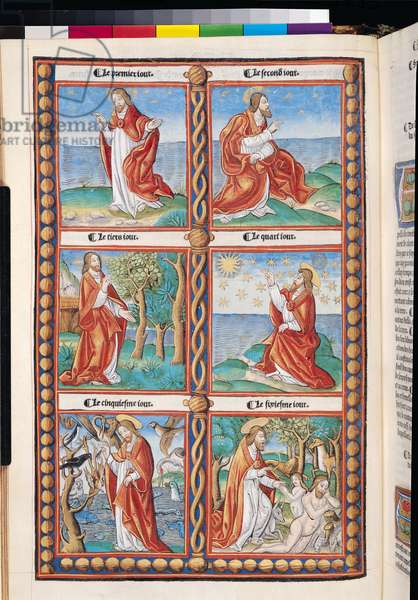 Ms 4-5/1045 bis t.1 f.1 The Creation, from the French Bible (vellum)