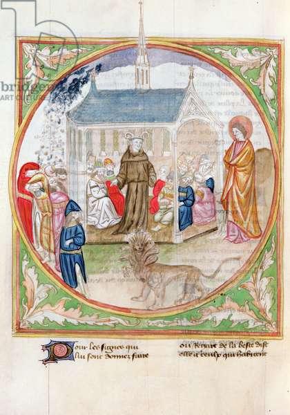 Ms. 28/1378 fol.81v Apocalypse Scene, from 'Histoire Extraite de la Bible et Apocalypse' (vellum)
