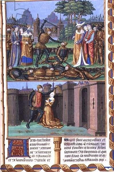Ms 833-834/313-314 t.II fol.219 The Horatii in combat with the Curiatii and a man murdering his wife, by Valerius Maximus for Philippe de Commynes, from 'Dicta et Facta Memorabilia,' c.1475 (vellum)