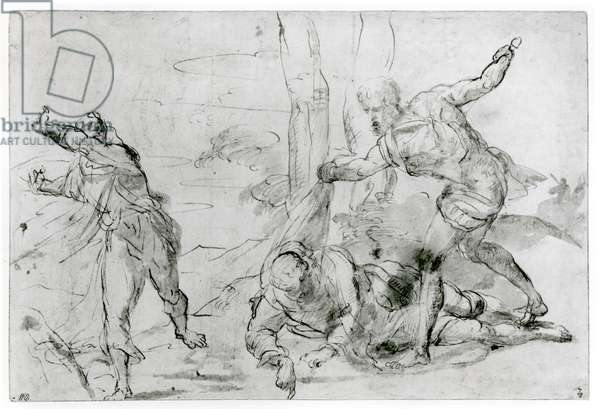 The Death of St. Peter Martyr (1205-52) (pen & ink and bistre on paper) (b/w photo)