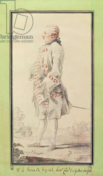 Pierre-Victor-Joseph de Brunstadt (1720-91) Baron de Bezenval (pencil & red chalk on paper)