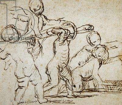 Study of five children (pen & ink on paper)
