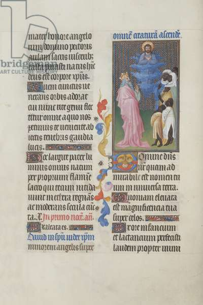 Ms 65/1284 fol. 27, David proclaiming the glory of God, from the Très Riches Heures du Duc de Berry (vellum)