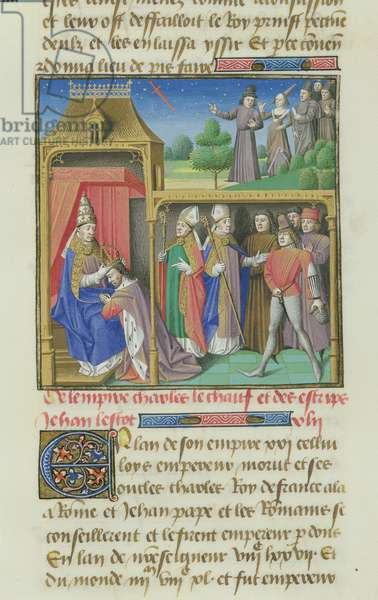 Ms 722/1196 fol.119r Coronation of Charles II 'the Bald' (823-877), King of the West Franks by Pope John VIII (820-82) from Le Miroir Historial, by Vincent de Beauvais (vellum)