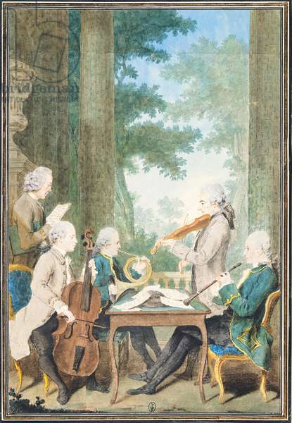 The Quartet - Jean Pierre Dupont (1741-1808) Pierre Vachon (1731-1803) Rodolphe, Provers and Vernier (w/c on paper)