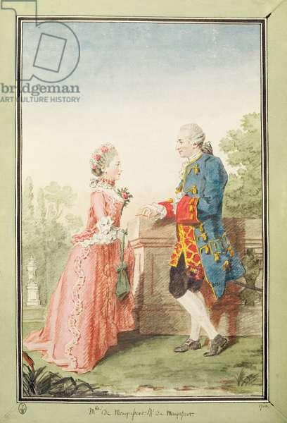 Monsieur de Maupassant and his daughter, Mademoiselle de Maupassant, 1760 (w/c on paper)