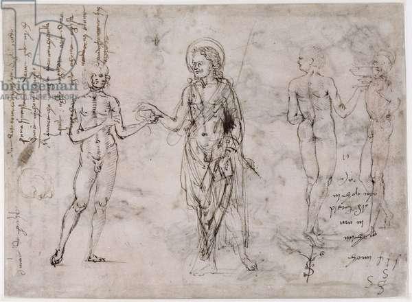 Sheet of studies with standing men, St. John the Baptist (verso) (pen & ink & black lead & red chalk on paper)