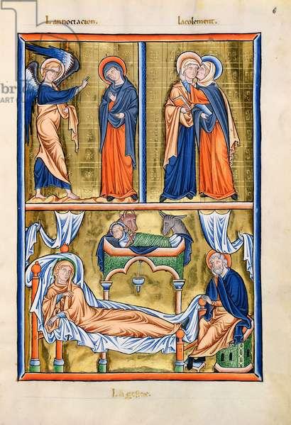 Ms 9/1695 fol.15v The Annunciation, Visitation and Nativity, from the 'Psautier d'Ingeburg de Danemark', c.1210 (vellum)