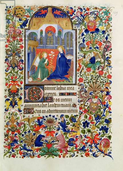 Ms 64/1671 Fol.25 The Annunciation, from the 'Hours of Francois de Guise' (vellum)