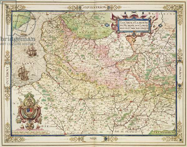 Map of Picardie, Boulonnois, Artois and Reconquered Territory, 1602-03 (colour engraving)