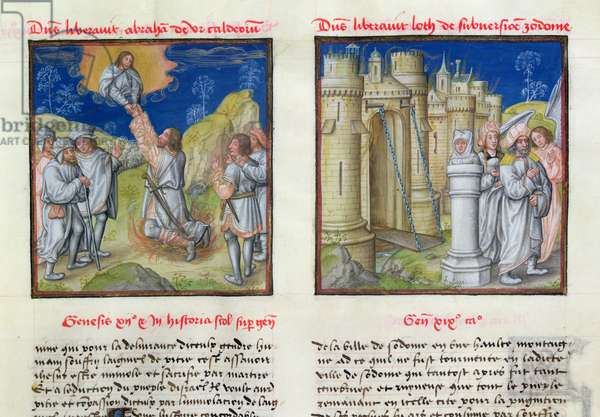 Ms 139/1363 fol.33r The Calling of Abraham and Lot Leaving Sodom, from 'Le Miroir de l'Humaine Salvation' (vellum)