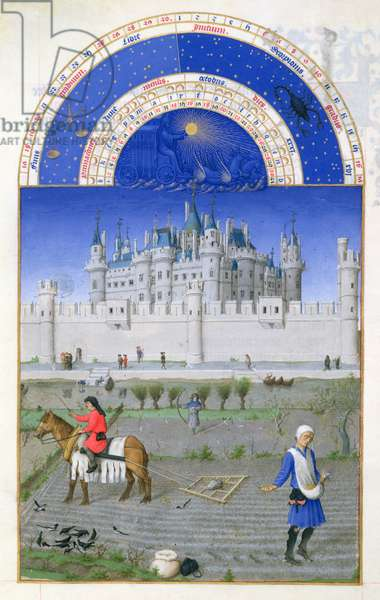 Ms 65/1284 f.10v October: sowing the winter grain, from the 'Tres Riches Heures du Duc de Berry' (vellum) (for facsimile copy see 65827)