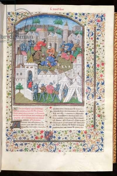 Ms 860/401 fol.41 Conquest of a Town, from Book II of 'Cas des Nobles Hommes et Femmes' translated by Laurent de Premierfait, 1465 (vellum)