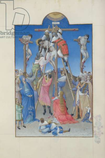 Ms 65/1284 f.156v The Deposition from the Cross, from Tres Riches Heures du Duc de Berry, early 15th century (vellum)