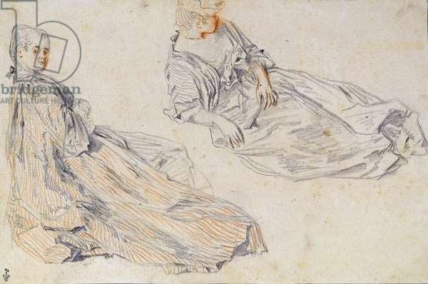 Two Ladies Seated on the Ground, study for 'Les Champs Elysees' (pencil & sepia on paper) (post restoration)