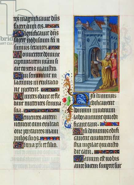 Ms. 65/1284 fol. 55v Edification of a temple, from 'Très Riches Heures du Duc de Berry' (vellum)