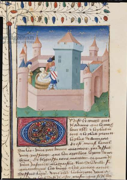 Ms 648/404 f.415v Bathing Scene in a Castle Courtyard, from the Roman des Chevaliers Galaad, Tristan et Lancelot (vellum)
