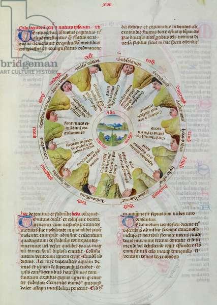 Ms 624/1596, fol.17r, Compass Rose, from 'Liber Floridus' by Lambert de Saint-Omer, c.1448 (vellum)