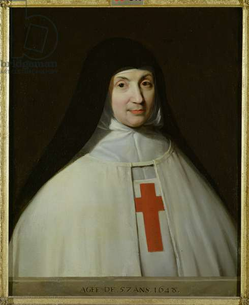 Portrait of Mother Marie-Angelique Arnauld (1591-1661) Abbess of Port-Royal, aged 57, 1648 (oil on canvas)