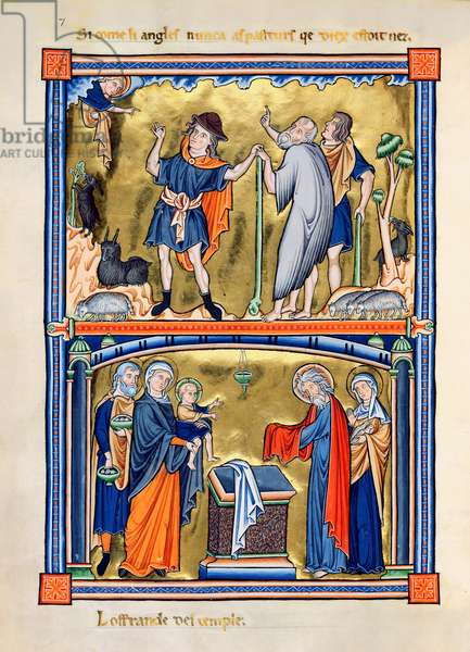 Ms 9/1695 fol.16v Annunciation to the Shepherds and Presentation of Jesus at the Temple, from the 'Psautier d'Ingeburg de Danemark', c.1210 (vellum)