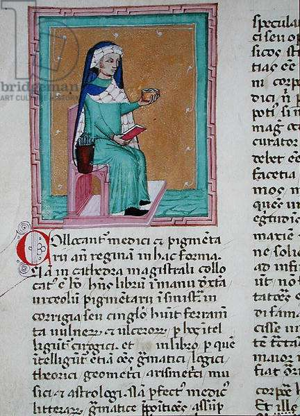 Ms 286/1075 fol.19v A man seated in a magistral chair with medical instruments, from the Latin edition of 'Libellus de Moribus' written by Jacques de Cessoles (vellum)