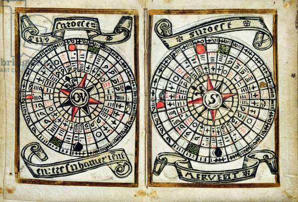 No.1585 pl.4 & 5 Breton portolan and calendar showing the cycle of the moon, 1546 (xylograph)