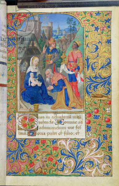 Ms 82/1400 Adoration of the Magi, from the 'Heures de Seguier' (vellum)