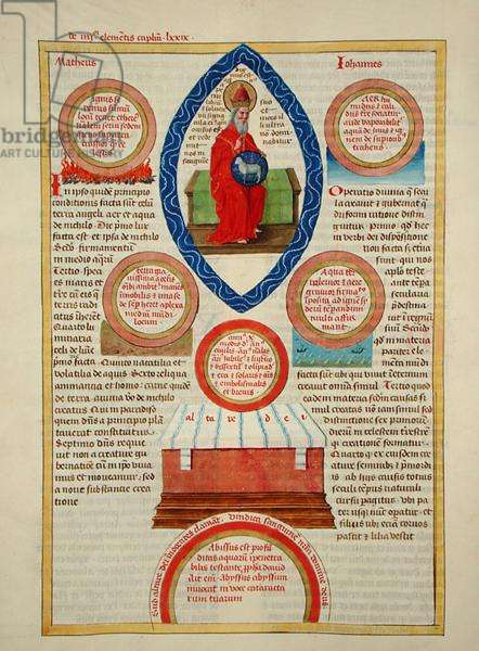 Ms 724/1596 Fol.59v The Holy Lamb, the Altar of God and the Four Elements, from 'Liber Floridus' by Lambert de Saint-Omer, c.1448 (vellum)