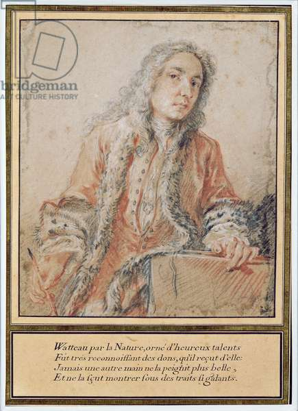 Portrait of Jean-Antoine Watteau (1684-1721) (red chalk, white chalk & charcoal on paper)