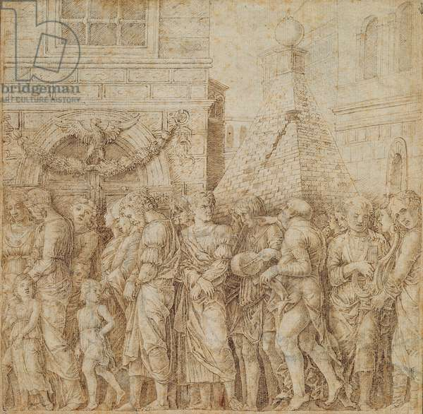 Study for the seventh canvas of the Triumph of Caesar, c.1485-1505 (pen and ink on paper)