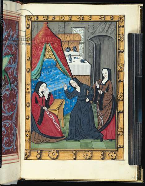 Ms.388/1475 fol.18 r Despair of the lady in the bedroom after the departure of the lord (vellum)