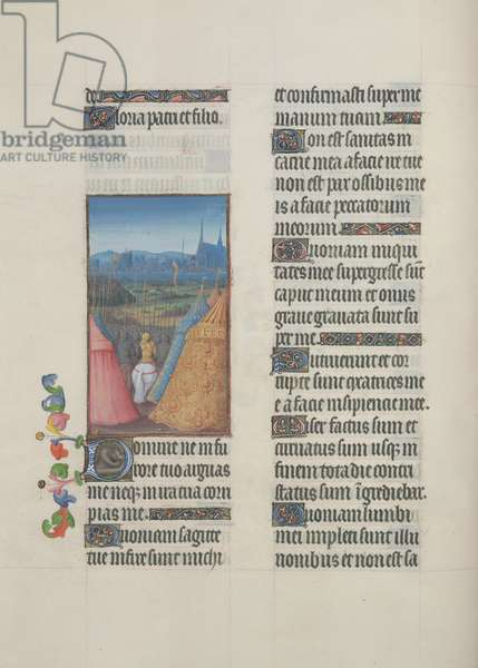 Ms. 65/1284 fol. 66v Psalm 37, David and his army march to a town, from 'Très Riches Heures du Duc de Berry' (vellum)