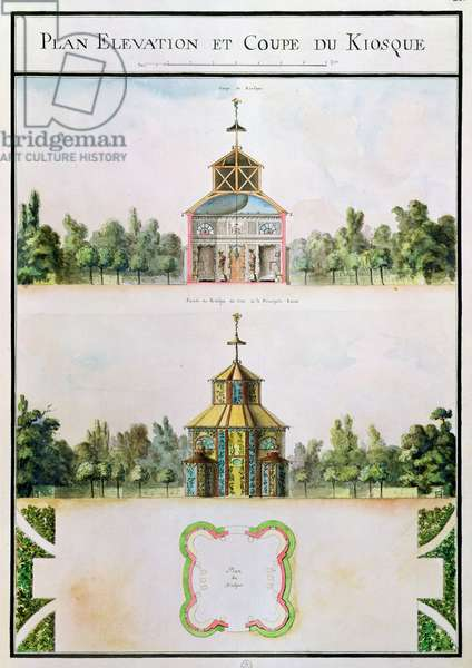 Fol.21 View of a kiosk, from 'Atlas du Comte du Nord', 1784 (pen & ink and w/c on paper)